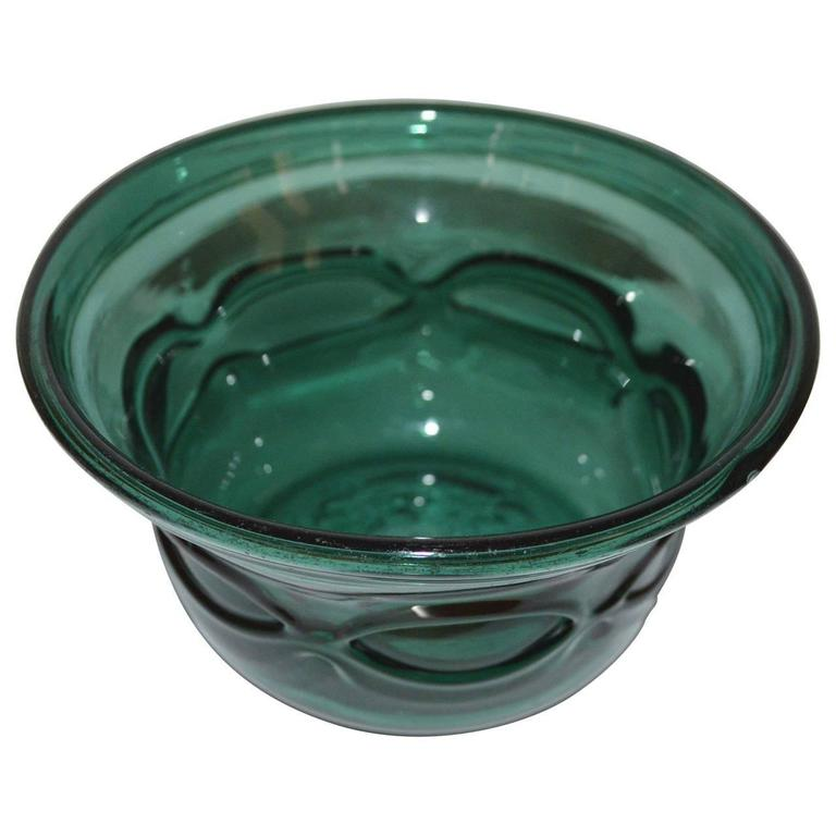 Early 20th Century Arts and Crafts Green Handblown Glass Bowl For Sale