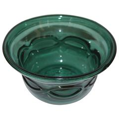 Early 20th Century Arts and Crafts Green Handblown Glass Bowl