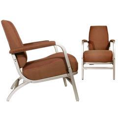Pair of Streamline Modern Pullman Car Folding Lounge Chairs