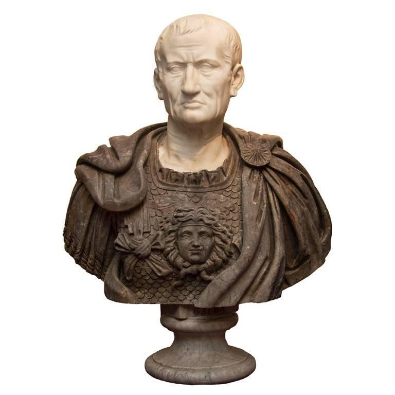 Lifesize Multicolor Marble Bust of a Roman Emperor with Medusa Breast Plate