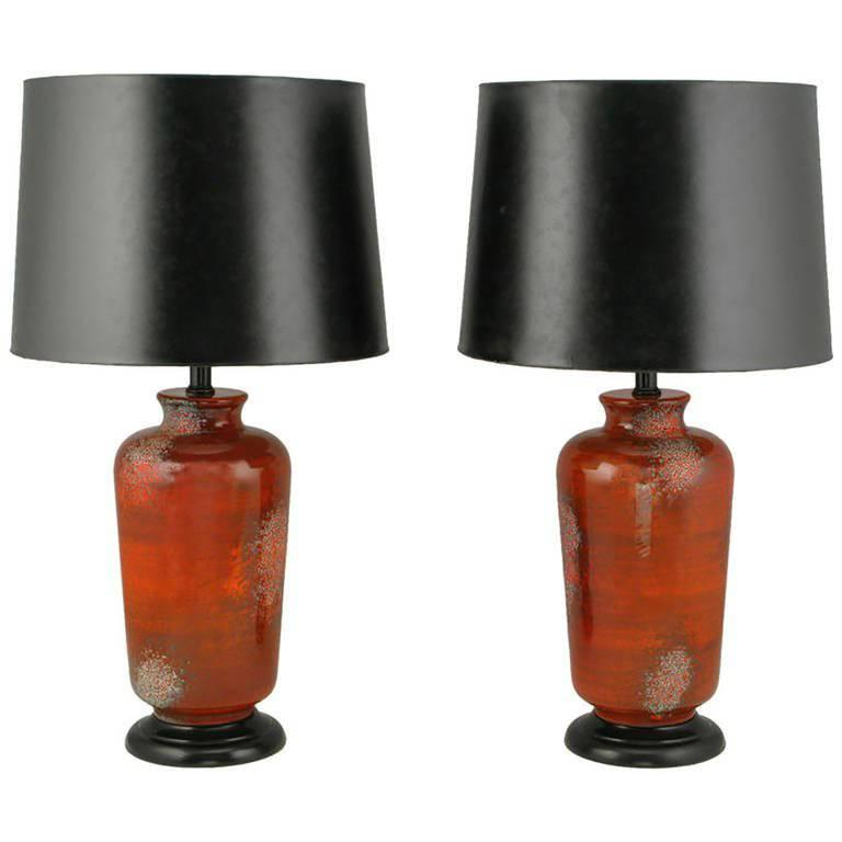 Pair of Carnelian, Red Lava Glaze Pottery Table Lamps For Sale
