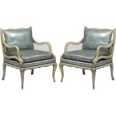 Pair of 1940s Carved and Lacquered Lounge Chairs with Blue Leather Upholstery