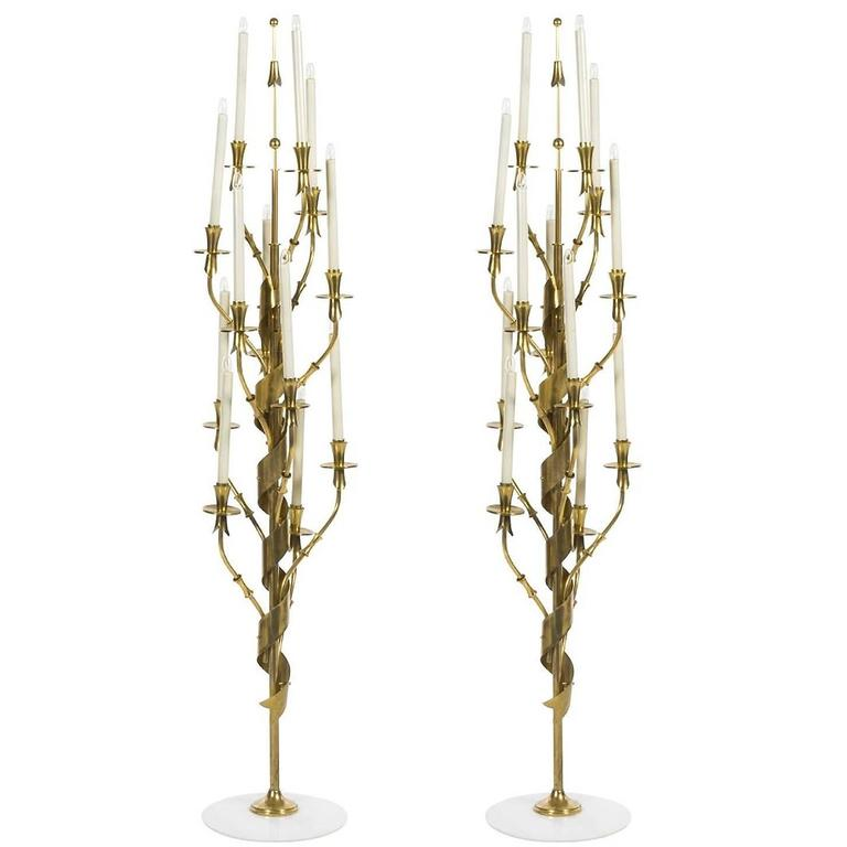 Fully Restored Pair of Brass and Marble Floor Lamps by Stilnovo, circa 1960s