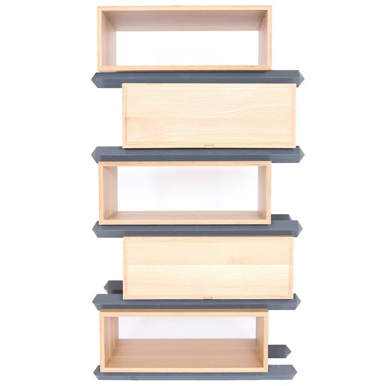Stack Storage Five-Tier Wood Staggered Open Shelves and Drawers