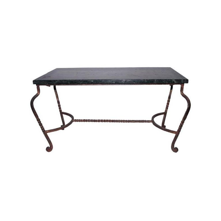 Iron Coffee Table with Green Marble For Sale