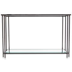 Eighties style Black Chromed Two-Tier Console Table