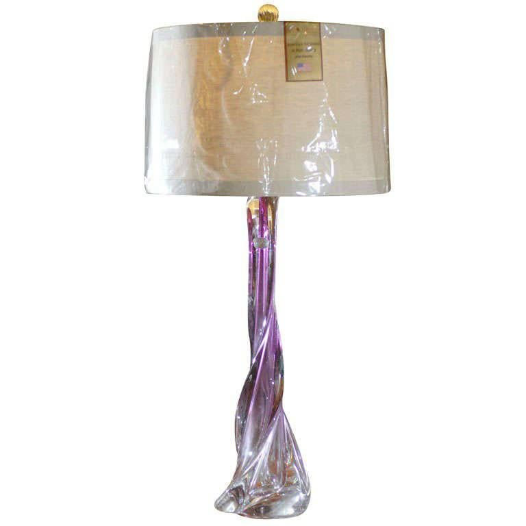 Val St. Lambert Handblown Pink And Purple Glass Twisted Table Lamp With  Shade 1