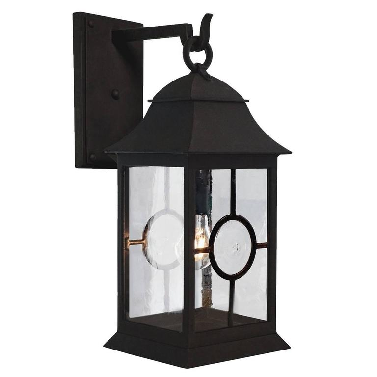 Nautically inspired wrought-iron exterior wall lantern, Holroyd Edition, current production