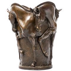 20th Century Bronze Horse Vase or Sculpture