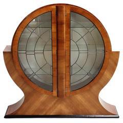 1930s English Art Deco Walnut Display Cabinet