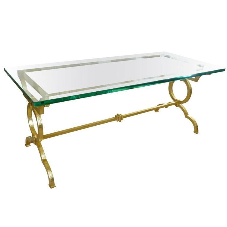 Gold Leaf over Iron Moderne Cocktail Table/ HOLIDAY SALE