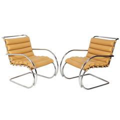 Pair of MR Lounge Chairs by Mies Van Der Rohe for Knoll