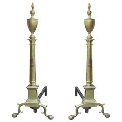 Pair of Brass Andirons, circa 1890-1900