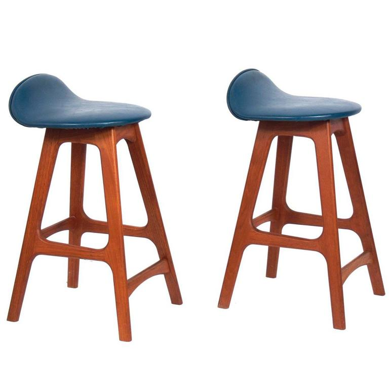 Pair of Low Slung Danish Modern Bar Stools Designed by Erik Buck