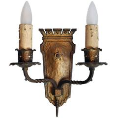 Hammered Bronze Two Candle Tudor Sconce