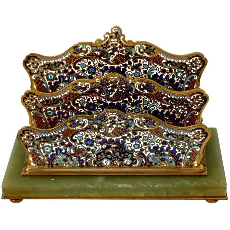 19th French Champlevé Enamel Onyx Letter Stand / Table / Desk Accessory