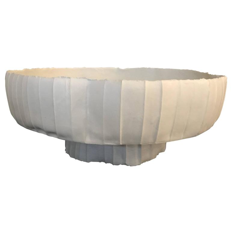 Footed White Ceramic Bowl, Italy, Contemporary
