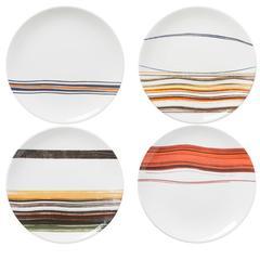 Set of Four Orange Orizzonti Dinner Plates by Vittore Frattini