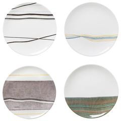 Set of Four Gray Orizzonti Dessert Plates