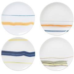 Set of Four White Orizzonti Dessert Plates