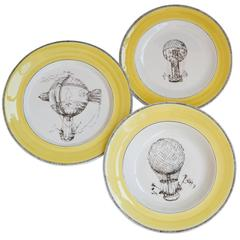 Set of Three Sophisticated Mongolfiera Plates for Two