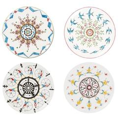 Set of Four Colorful Dessert Plates Story