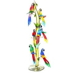 Huge Murano Glass Tree with Seven Colorful Parrots