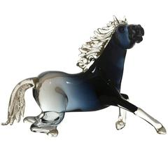 Small Black Glass Sitting Horse