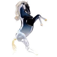 Large Black Rearing Horse Sculpture
