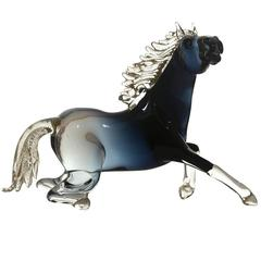 Large Glass Sitting Horse Sculpture