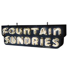 Fountain Sundries Neon Sign, circa 1940s