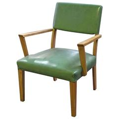 1959 Mid-Century Modern Green and Maple Wood Armchair with Brass Tacks