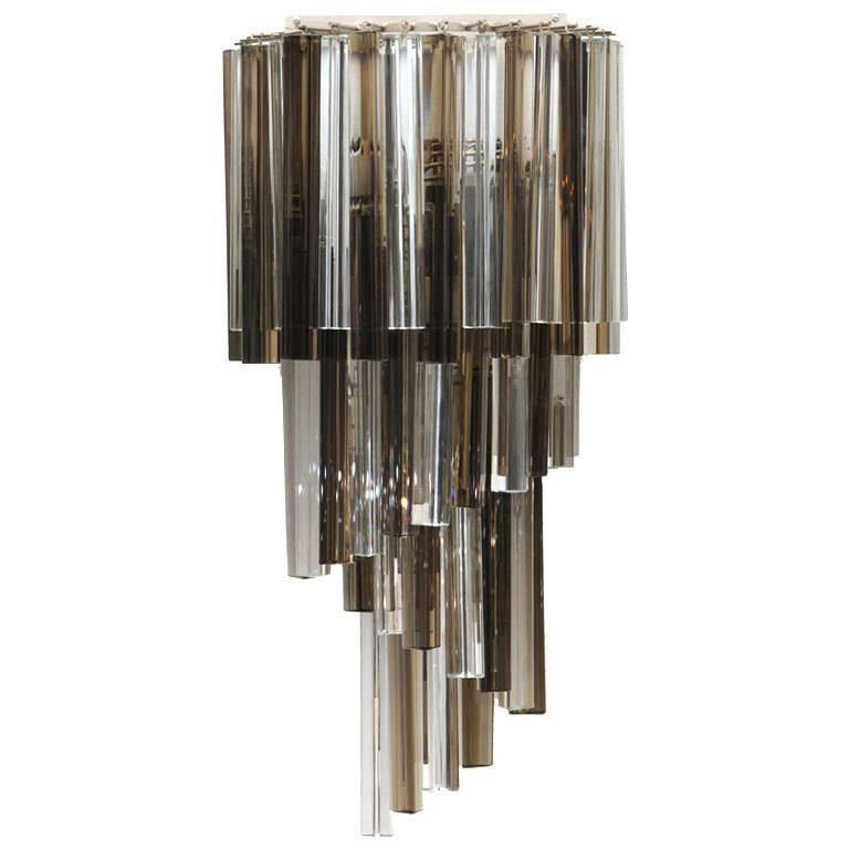 Wall Sconces With Clear Glass : Venini Smoked and Clear Glass Prism Cascading Wall Sconce For Sale at 1stdibs