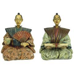 Pair of Antique Japanese Ceramic Nodding Head Figures