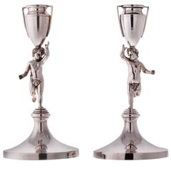 Pair Of Pitti Sterling Silver Candlesticks