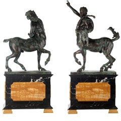 Set Of 2 Centaurs Statues On Pedestals