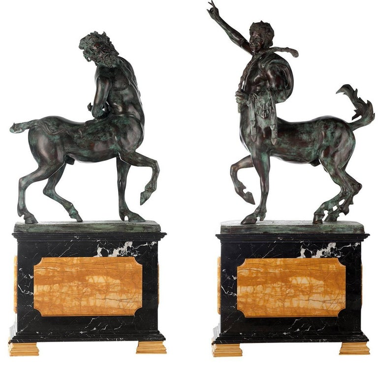 Set Of 2 Centaurs Statues On Pedestals For Sale