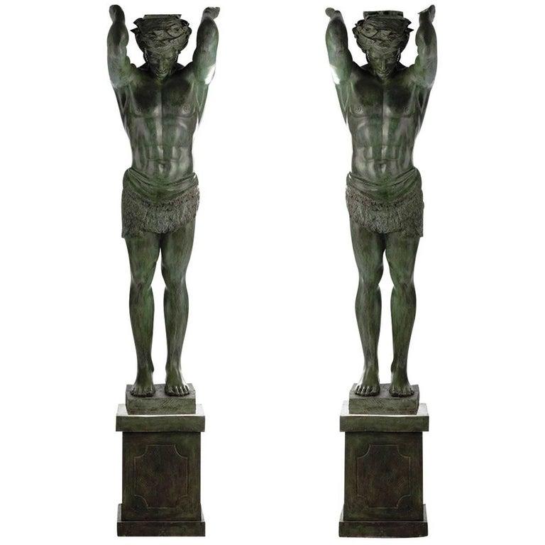Set of 2 Telamoni Statues For Sale