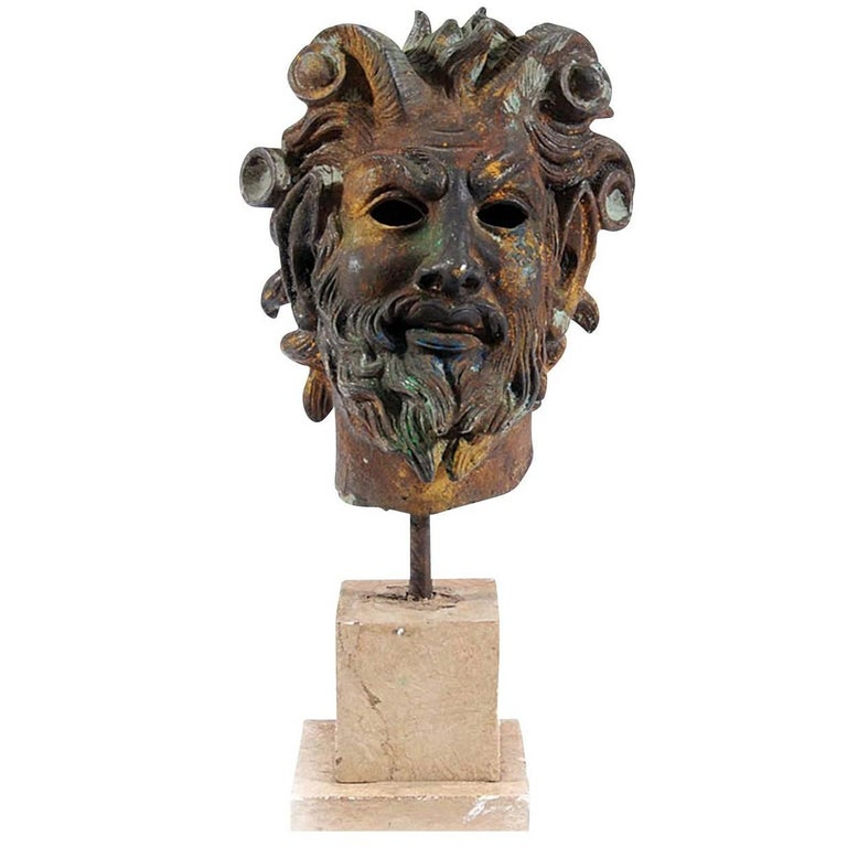 Ancient Greek Satyr's Head Sculpture For Sale
