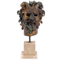 Ancient Greek Satyr's Head Sculpture