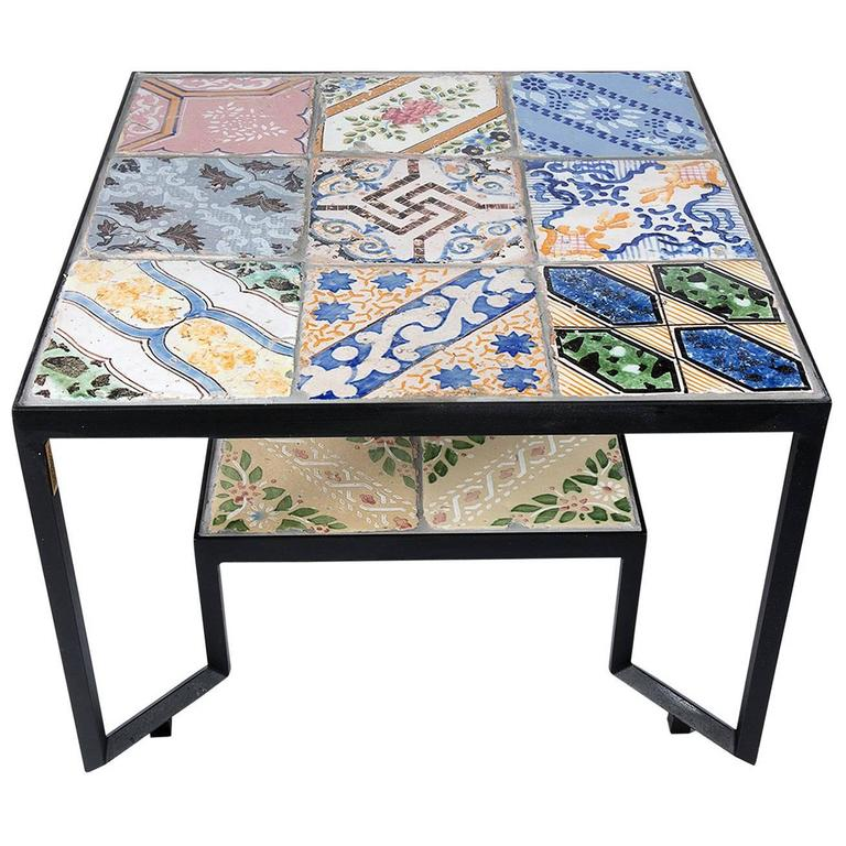 Colorful 'Spider' Coffee Table with Thirteen Hand-Made Tiles ...