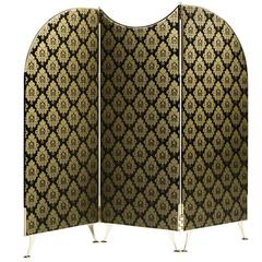 Sophisticated 'Aliseo' Room Divider with Gold and Black Pattern
