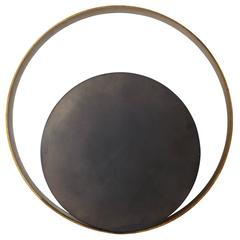 Stunning Circle Wall Lamp in Brass and Nickel