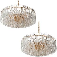 Two Large Kalmar Chandeliers Pendant Lights 'Palazzo', Gilt Brass Glass, 1970