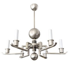 Scandinavian Modern Chandelier Nickel over Brass Six Arms