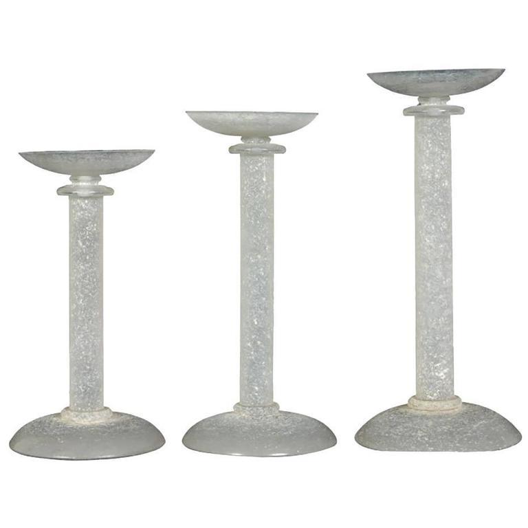 Karl Springer Set of Three Graduated Murano Art Glass Candleholders