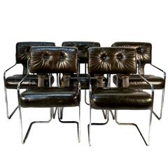 Set of Five Tucroma Pace Chairs in Army Green by Guido Faleschini