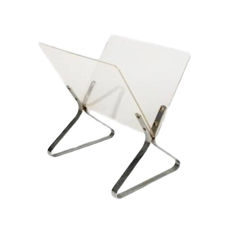 Lucite and Chrome Magazine Stand