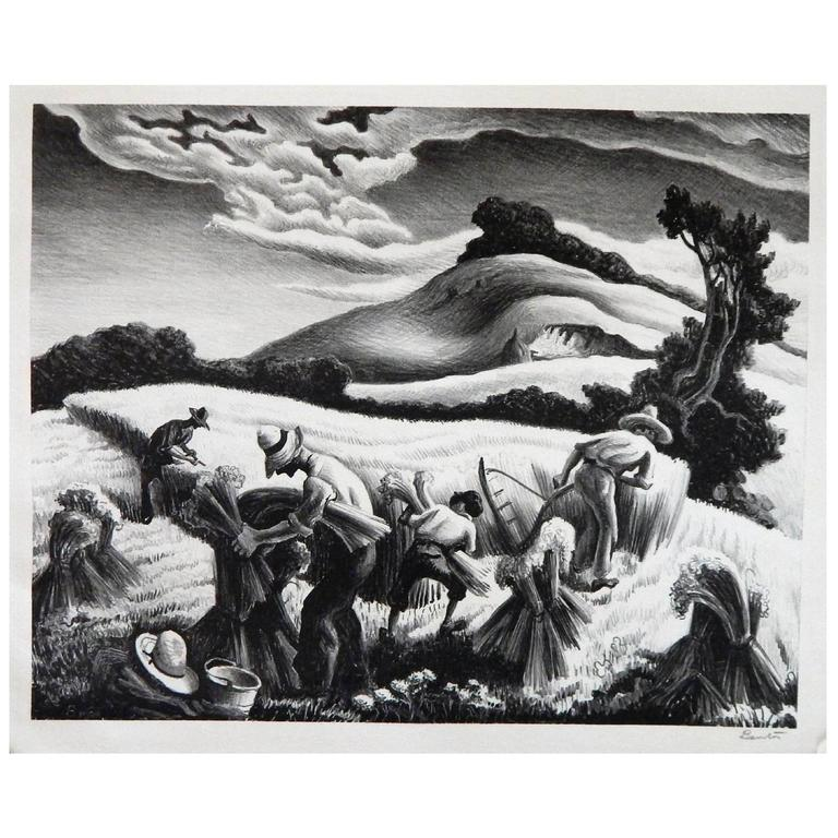 """lithograph """"cradling wheat"""" by american regionalist thomas hart ..."""