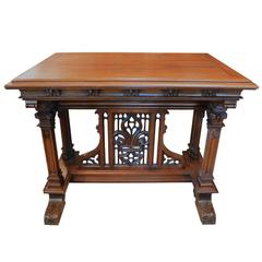 Antique 19th Century French Walnut Gothic Style Table